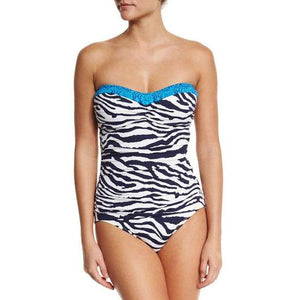 NWT TOMMY BAHAMA 6 Zebra bandeau Swimsuit strapless blue 1 piece has neck strap