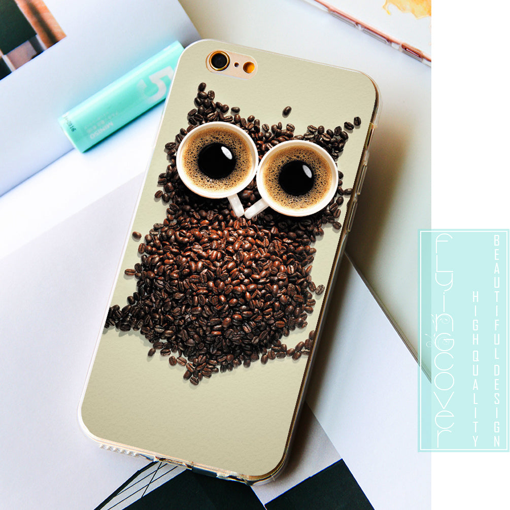 Coffee Owl Clear Phone Case