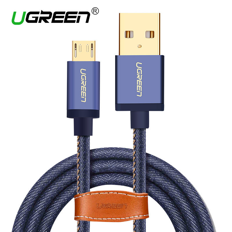Denim Braided Micro USB Cable 2M 1M Fast Charger & Data-US