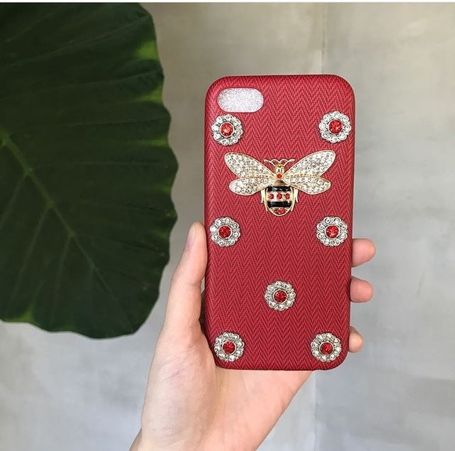 Luxury Leather 3D Metal Bee Pearl Phone Cases