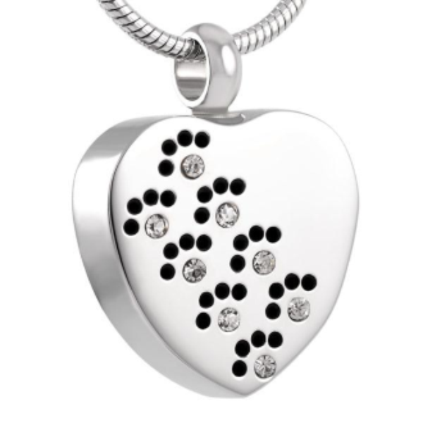 Jeweled Paw Heart Cremation Pendant