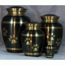 Black Gold Paws Urn