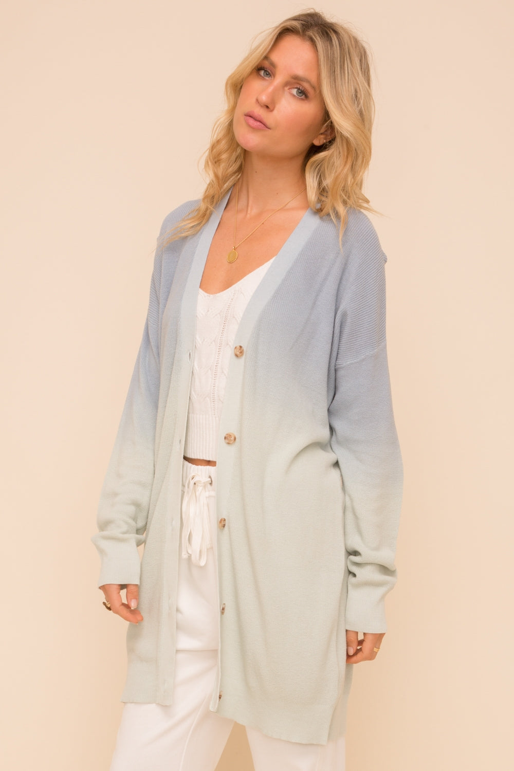 Ombre Button Down Cardigan Sweater
