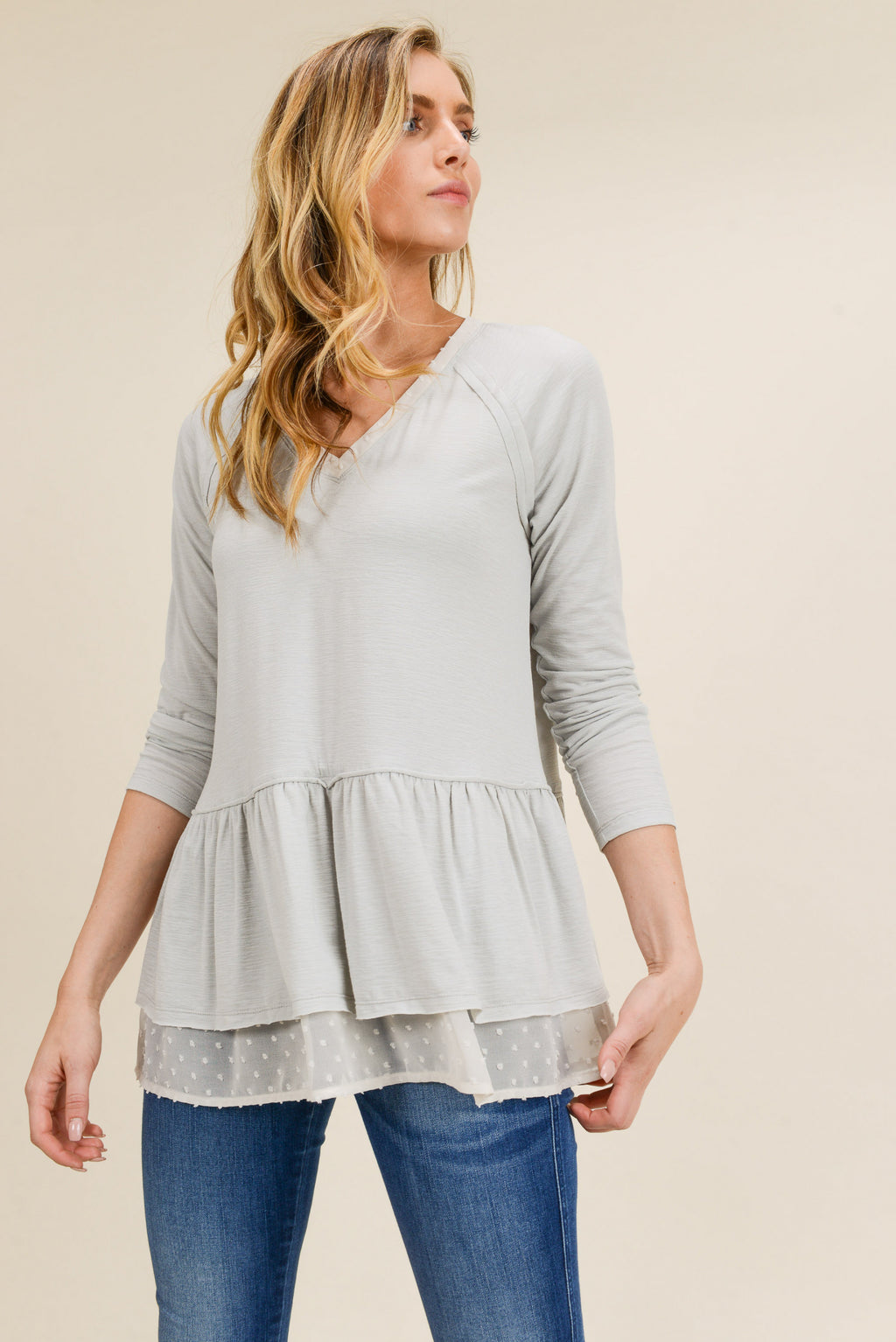 Deep V Neck Bottom Ruffled Top with Raw Edge