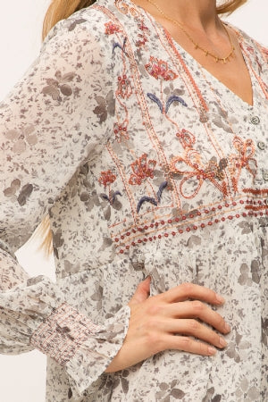 Embroidered long sleeves printed dress