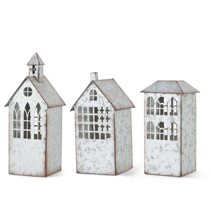 Galvanized Tin Church w/Cut Out Window Candleholder