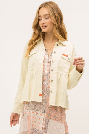 Double pockets peplum jacket