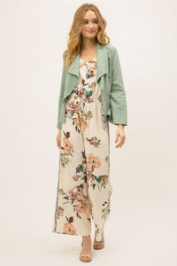 Linen blend bell sleeves drape jacket