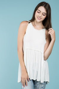 Babydoll racerback sleeveless top with back zipper