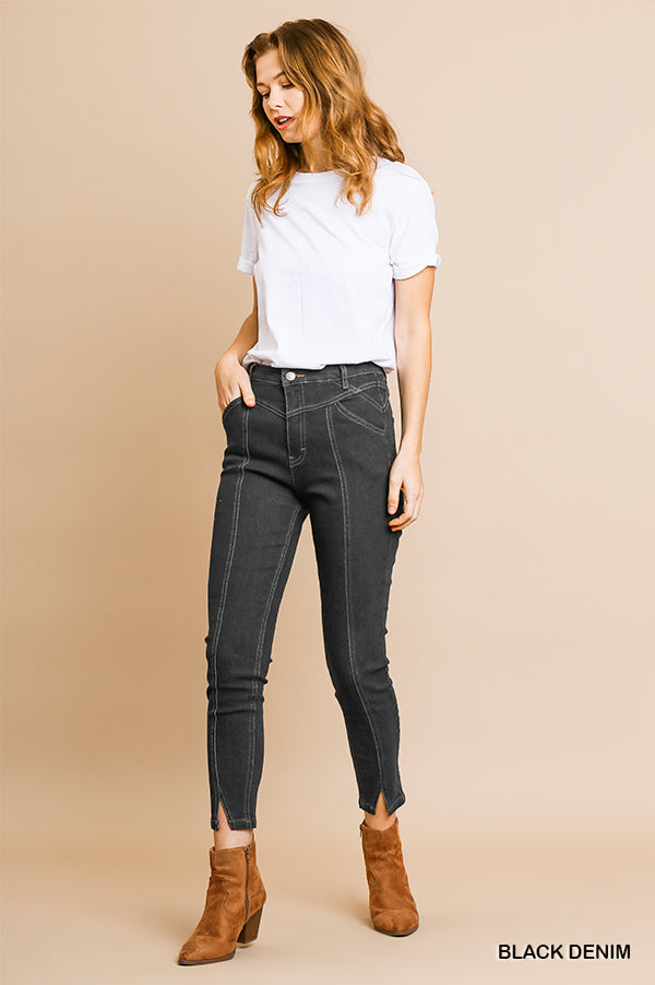 High Waist Skinny Split Front Stretch Pants with Contrasting Seamed Stitching