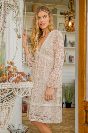 Deep V-Neck Lace Dress