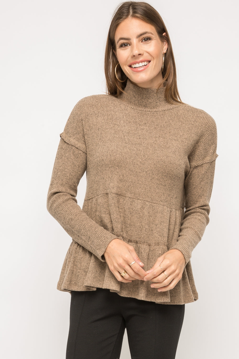 Brushed waffle cowl neck tiered top