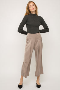High waisted pleated wide pants