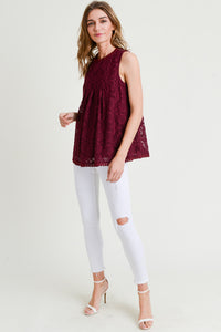Front Seam Detail Lace Top