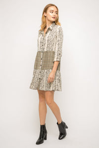 Animal print mixed shirring shirt dress