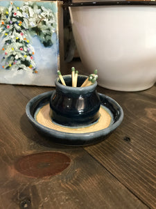 Handmade Pottery Match Holder and Striker Size Large