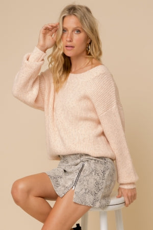 Textured Crew Neck Pullover Sweater