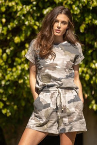 Camo Rolled Up Short Sleeve Top