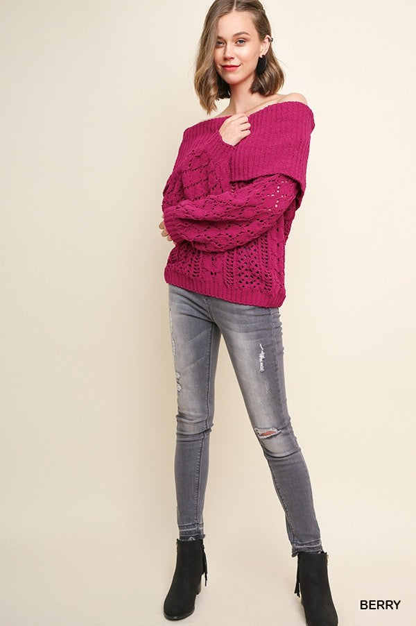 Ribbed Chenille Knit Fold-Over Off Shoulder Sweater
