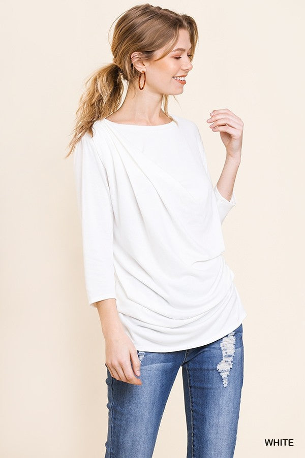 3/4 Sleeve Basic Front Draped Top