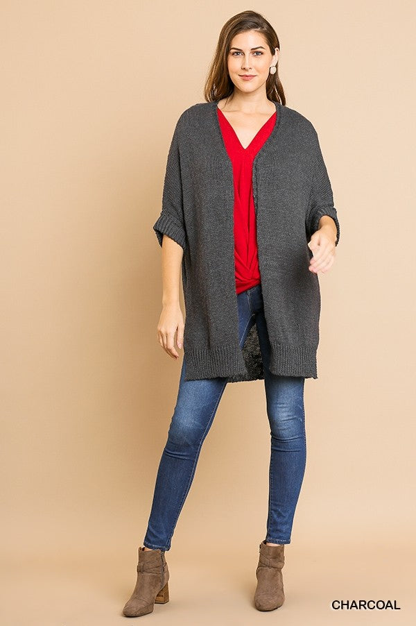 3/4 Rolled Sleeve Ribbed Knit Open Front Cardigan Sweater with Side Slits