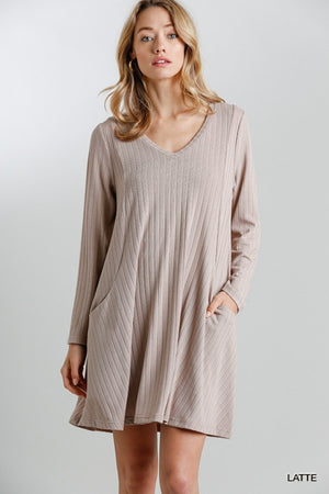 V-Neck Long Sleeve Dress with Pockets