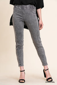 Mineral Washed High Waist Stretch Leggings with Seamed Detail and Side Zippers