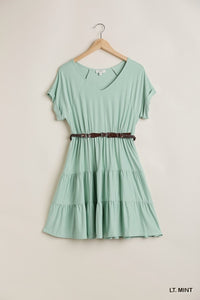 V Neck Dress with Short Cuffed Sleeves and Tiered Babydoll Cut