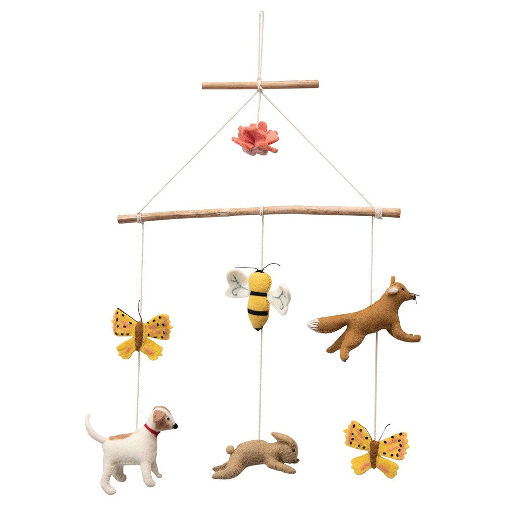 Wood & Wool Felt Animal Mobile