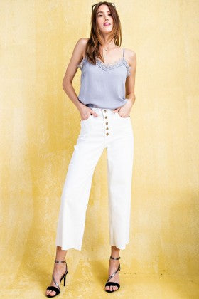 Button Front Stretch Twill Wide Leg Pants