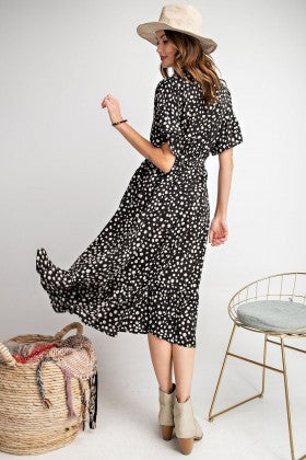 Short Sleeved Dot Print Wrap Knee Length Dress