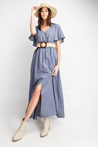 Blue Grey Long Dress