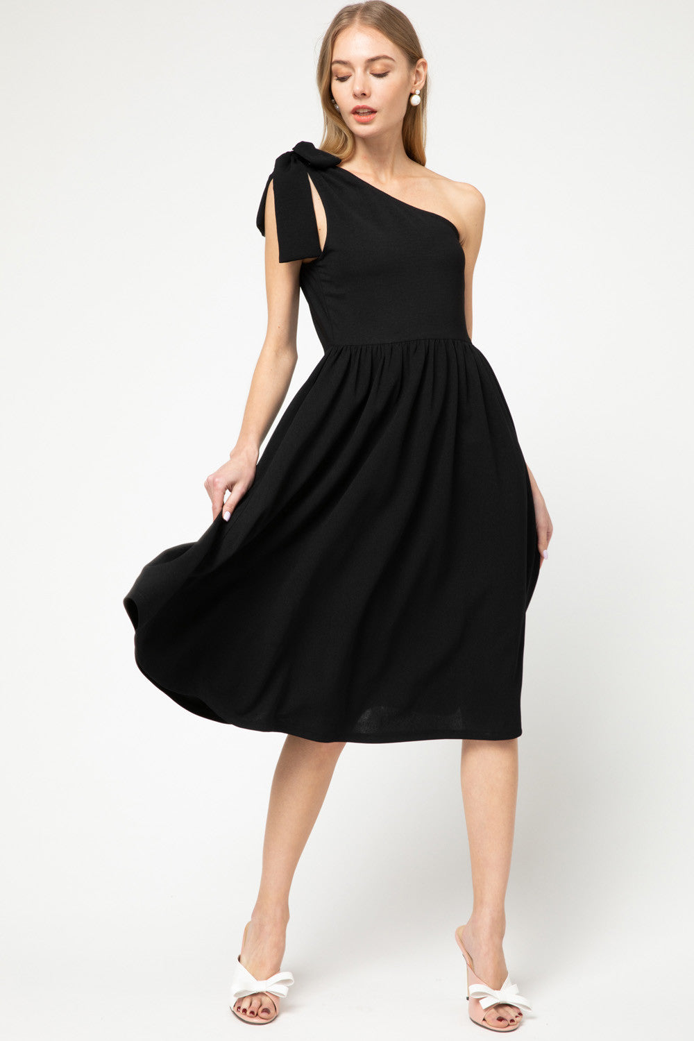 Solid one shoulder midi dress featuring self-tie detail on shoulder
