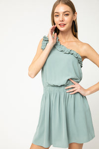 Solid one-shoulder dress featuring frill trim detail