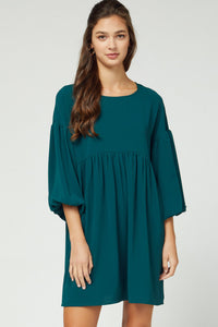Round Neck Dress with Puff Sleeves