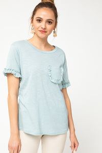 Melange knit scoop-neck top featuring frill trim detail