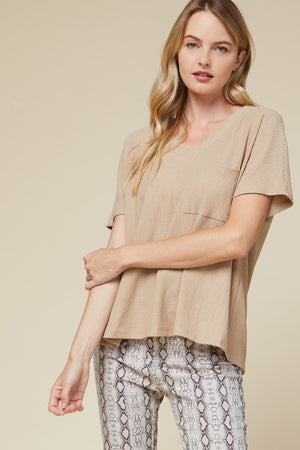 Waffle knit v-neck top featuring pocket detail at bust