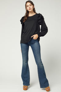 Long Sleeve Top Featuring Ruffle Detail at Shoulder