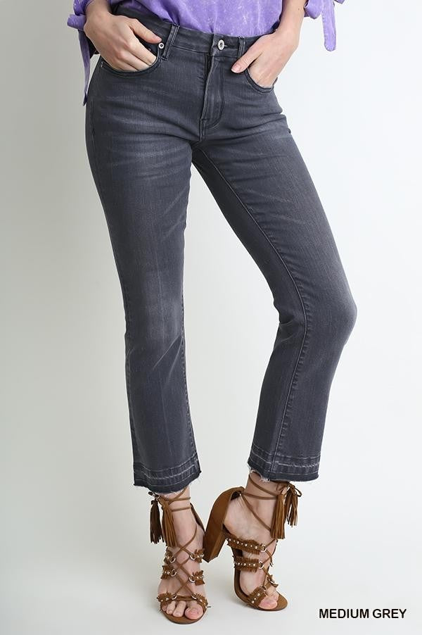 Grey 5 Pocket Mid Rise Cropped Kick Flare Jean with Raw Unfinished Hem