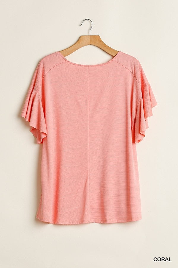 Wide Neck Top with Ruffled Sleeves