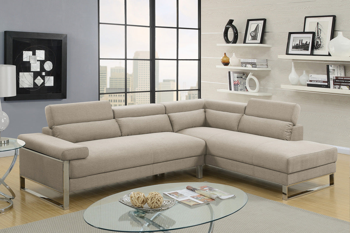 Classic style beige 2 pcs sectional