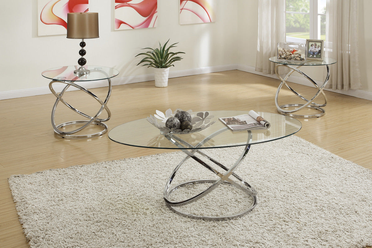 Chrome And Glass Coffee Table Set 3 Pcs Deco Furniture Group