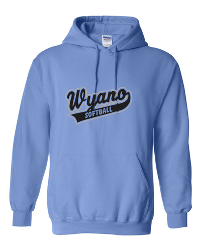 Wyano Softball - Columbia Blue Hooded Sweatshirt - Black/Gray Print