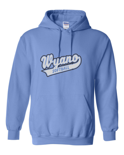 Wyano Softball - Columbia Blue Hooded Sweatshirt - Gray/Black Print