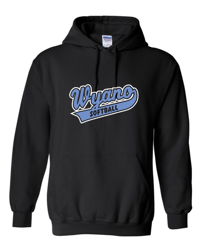 Wyano Softball - Black Hooded Sweatshirt - Blue/White Print
