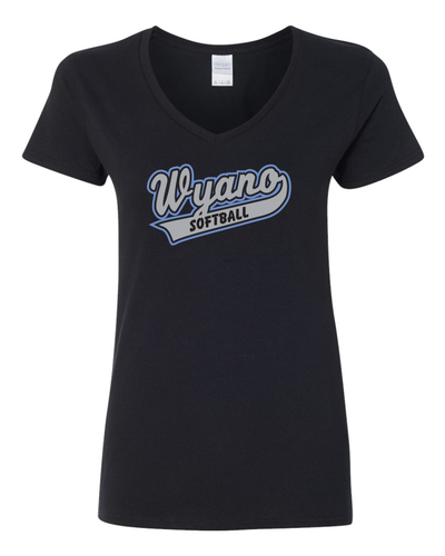 Wyano Softball - Black Ladies Shirt - Gray/Blue Print