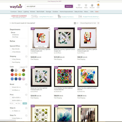 Wayfair, abstract art by Amy Lighthall