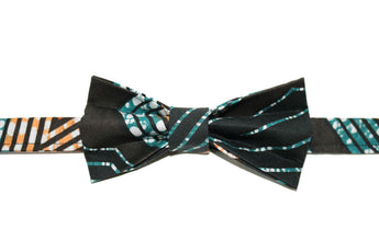 Turquoise, Orange & Red Bow Tie
