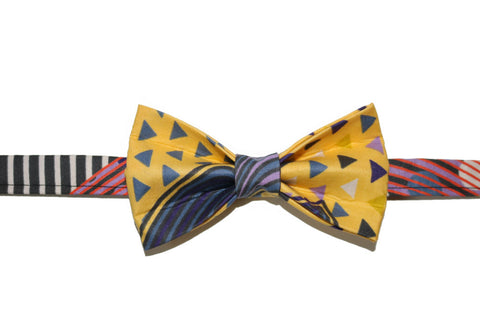 Yellow Multi-Coloedr Bow Tie