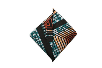Turquoise, Orange & Red Pocket Square